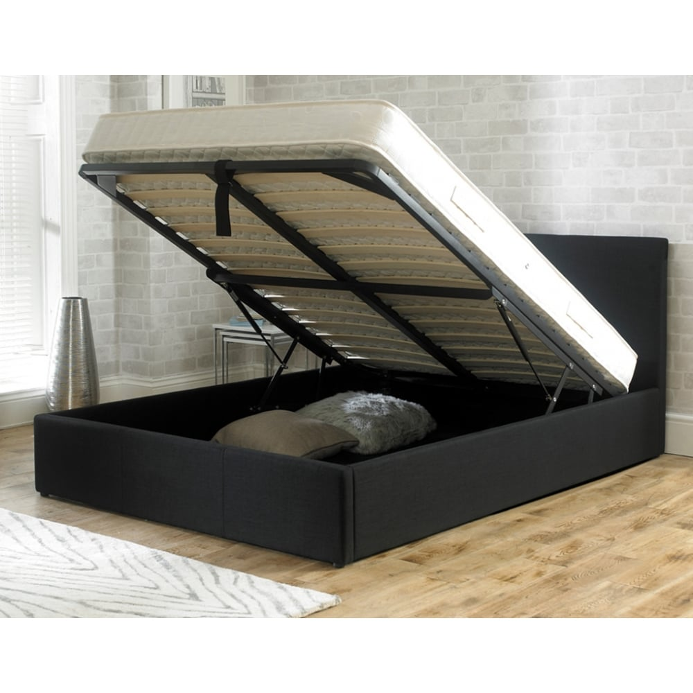 sale stirling 4ft6 double black fabric ottoman storage bed from bed sos. Black Bedroom Furniture Sets. Home Design Ideas