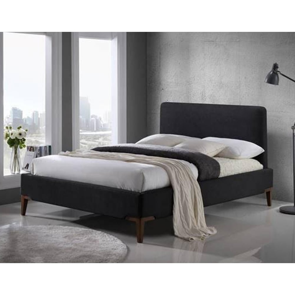 Time living exclusive durban46blk durban 4ft6 black fabric bed for Exclusive beds