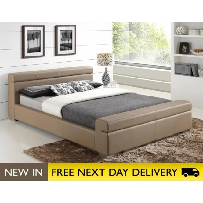 Durham faux leather stone double bed cheapest durham 4ft6 bed stone uk for Bedroom furniture next day delivery