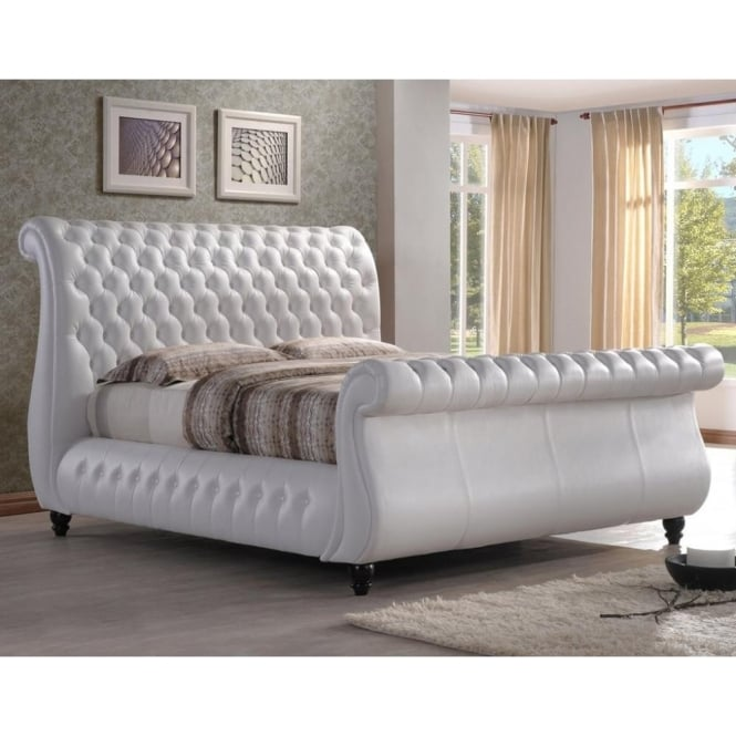 Time Living 6ft Super King Size Bed White Real Leather - Swan