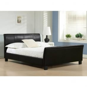 Winchester 5ft King Size Black Faux Leather Bed