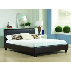 5ft King Size Bed Brown Real Leather - Hamburg
