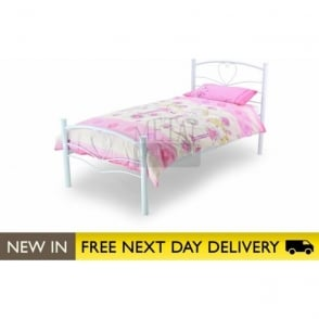 3ft Single Bed White Metal - Love