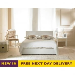 Madrid Ottoman 5ft King Size White Faux Leather Bed