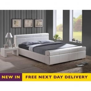 5ft King Size Durham White Faux Leather Bed