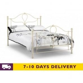 Paris 5ft King Size Stone White Metal Bed