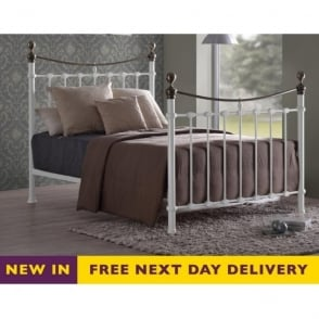 Elizabeth 4ft6 Double White and Brass Metal Bed