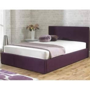 Stirling 5ft King Size Plum Fabric Ottoman Storage Bed