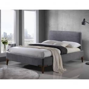 Durban 4ft6 Double Grey Fabric Bed