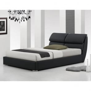 115-5FT-BLK Milan 5ft King Size Black Faux Leather Bed