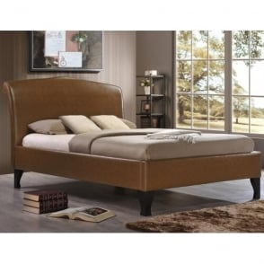 AND5TAN Andorra 5ft King Size Tan Faux Leather Bed