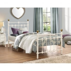 ATLAB3CRM Atlas 3ft Single Cream Metal Bed