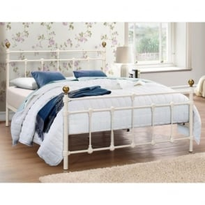 ATLAB4CRM Atlas 4ft Small Double Cream Metal Bed