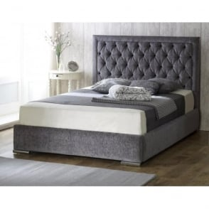 MESSINA-5FT-CHARCOAL Messina 5ft King Size Charcoal Chenille Bed