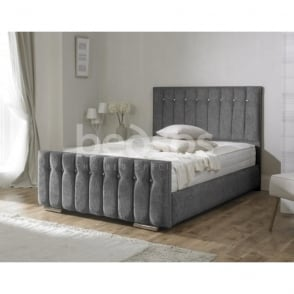 TURIN-4FT6-CHARCOAL Turin 4ft6 Double Charcoal Chenille Bed