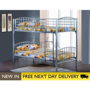 Birlea Beds Corfu 3ft Single Silver Metal Bunk Bed CORBB
