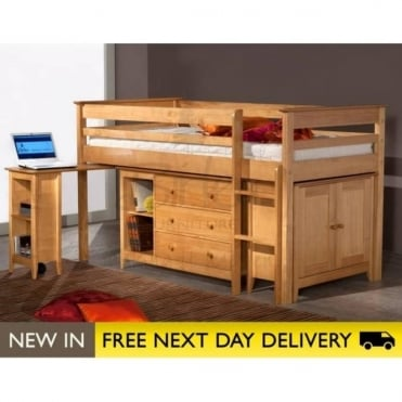 Birlea Beds Cotswold Pine Midi Sleep Station 3ft Single Bed COTSLEEPI