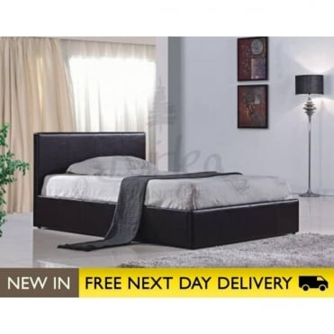 Birlea Beds Berlin Ottoman 3ft Single Brown Faux Leather Bed BEOTB3BRN