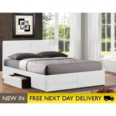 Birlea Beds Berlin 4ft6 Double Storage Bed Faux Leather Bed BER2DB46WHT