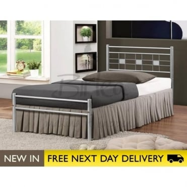 Birlea Beds Metro 4ft Small Double Silver Metal Bed METRB4