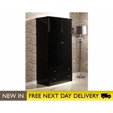 Birlea Beds Aztec Black 2 Door 2 Drawer Wardrobe AZT2D2DRBLK
