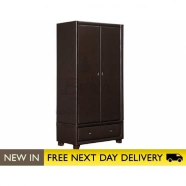 Birlea Beds Brooklyn Brown faux leather 2 Door 1 Drawer Wardrobe BROO-RBRN
