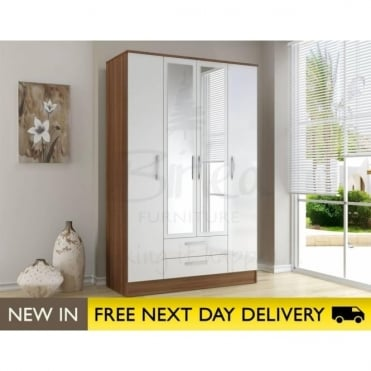 Birlea Beds Lynx Walnut & White 4 Door 2 Draw Wardrobe LYN4DCWWT