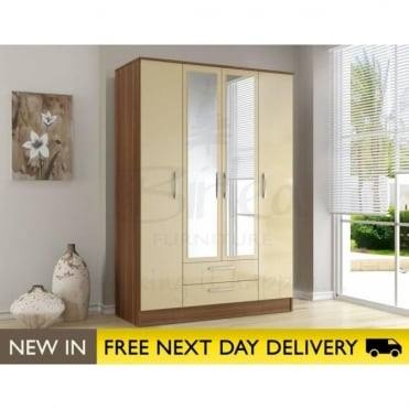 Birlea Beds Lynx Walnut & Cream 4 Door 2 Draw Wardrobe LYN4DCWCM