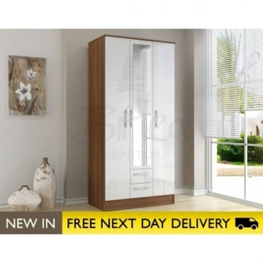 Birlea Beds Lynx Walnut & White 3 Door 2 Draw Wardrobe LYN3DCWWT