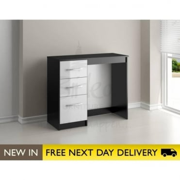 Birlea Beds Lynx Black & White 3 Drawer dressing table LYNDRBWT
