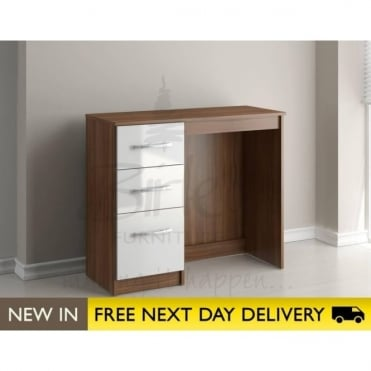 Birlea Beds Lynx Walnut & White 3 Drawer dressing table LYNDRWWT