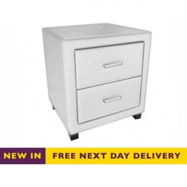 Dorset Two Drawer White Faux Leather Bedside Cabinet