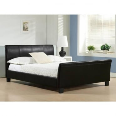 4ft6 Double Bed Black Faux Leather - Winchester