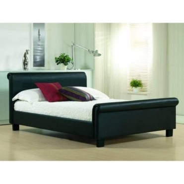 4ft6 Double Bed Black Real Leather - Aurora