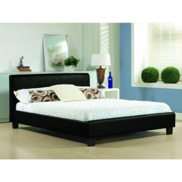 4ft6 Double Bed Black Real Leather - Hamburg