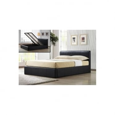 4ft6 Double Bed Brown Faux Leather - Ottoman