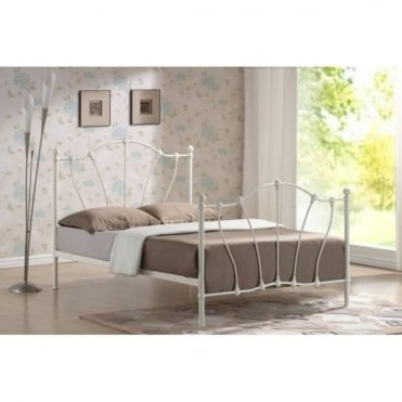 4ft6 Double Bed Ivory Metal - Hoxton