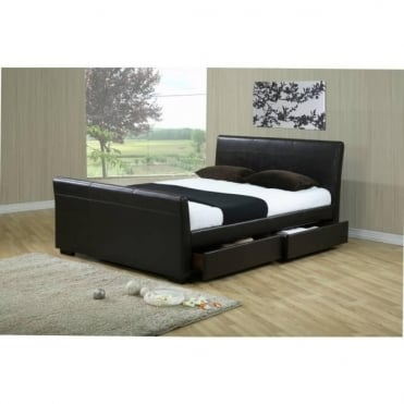 4ft6 Double Storage Bed Brown Faux Leather – Houston