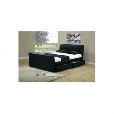 4ft6 Double Storage Bed Black Faux Leather – Houston