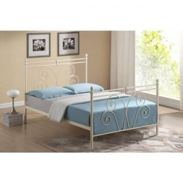4ft6 Double Bed Ivory Metal - Wallace
