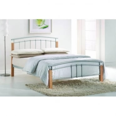 4ft Small Double Bed Silver Metal - Tetras
