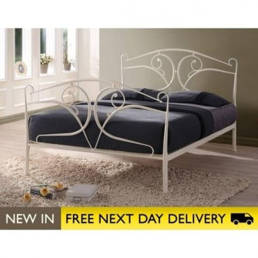 Seline 5ft King Size Ivory Metal Bed