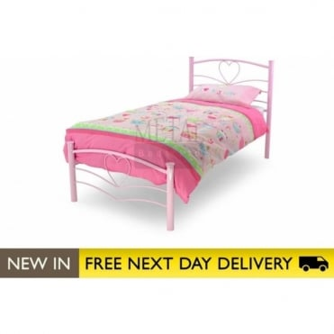3ft Single Bed Pink Metal - Love