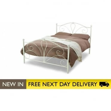 4ft6 Double Bed Ivory Metal - Romance
