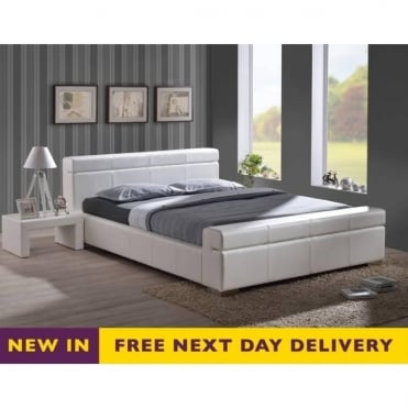 Durham 4ft6 Double White Faux Leather Bed