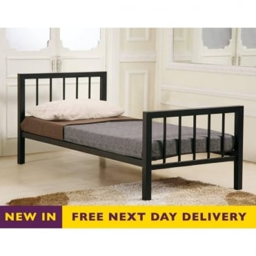 Metro 5ft King Size Black Metal Bed