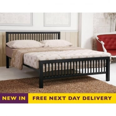 Meridian 4ft Small Double Black Metal Bed