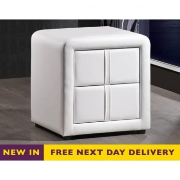 Monaco Two Drawer White Faux Leather Bedside Cabinet