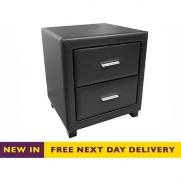 Time Living Dorset Black Faux Leather Two Drawer Bedside Cabinet