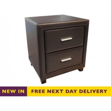 Dorset Brown Faux Leather Two Drawer Bedside Cabinet